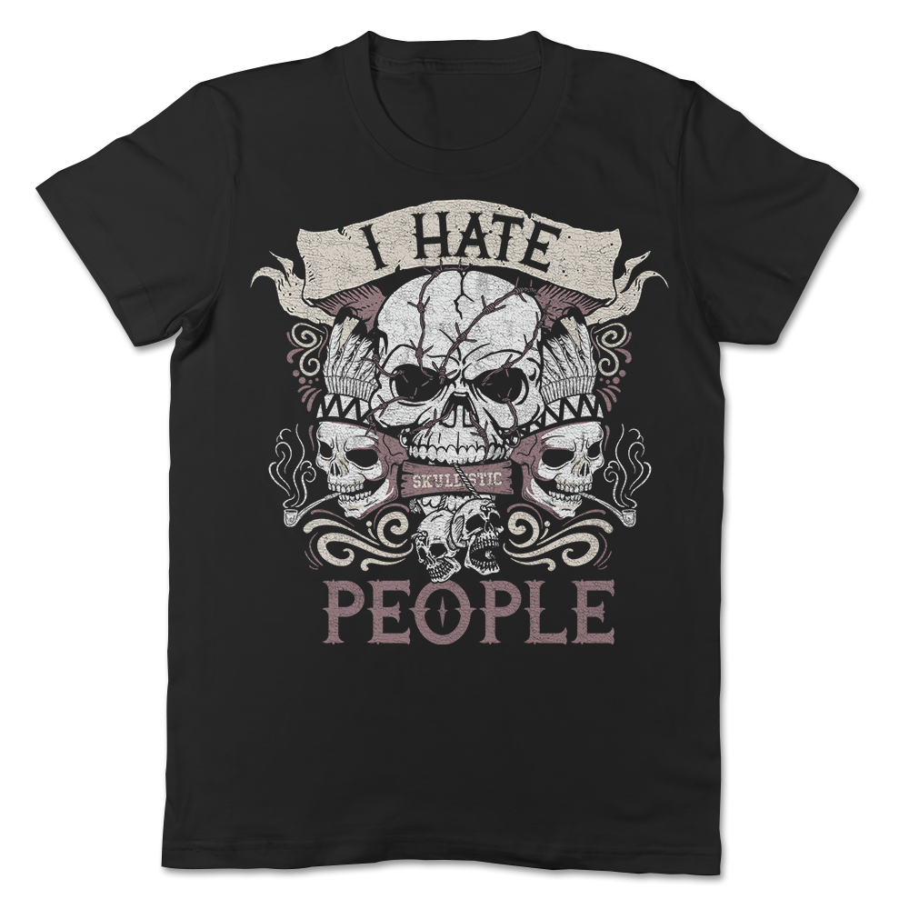 I Hate People Skull T-shirt