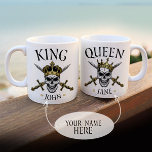 Personalized Skull King & Queen Mugs Set