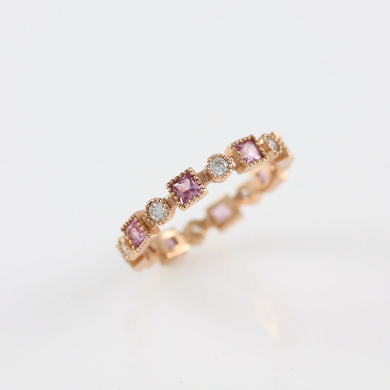 14k Pink Gold Diamond and Pink Sapphire Ring  - #52111