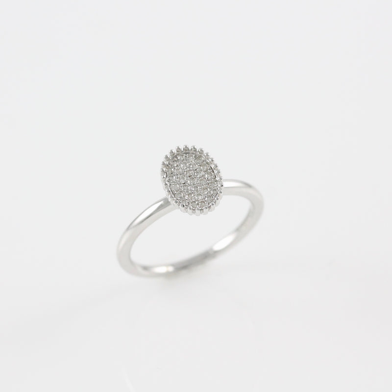 14k White Gold Oval Diamond Pave Ring - #52875