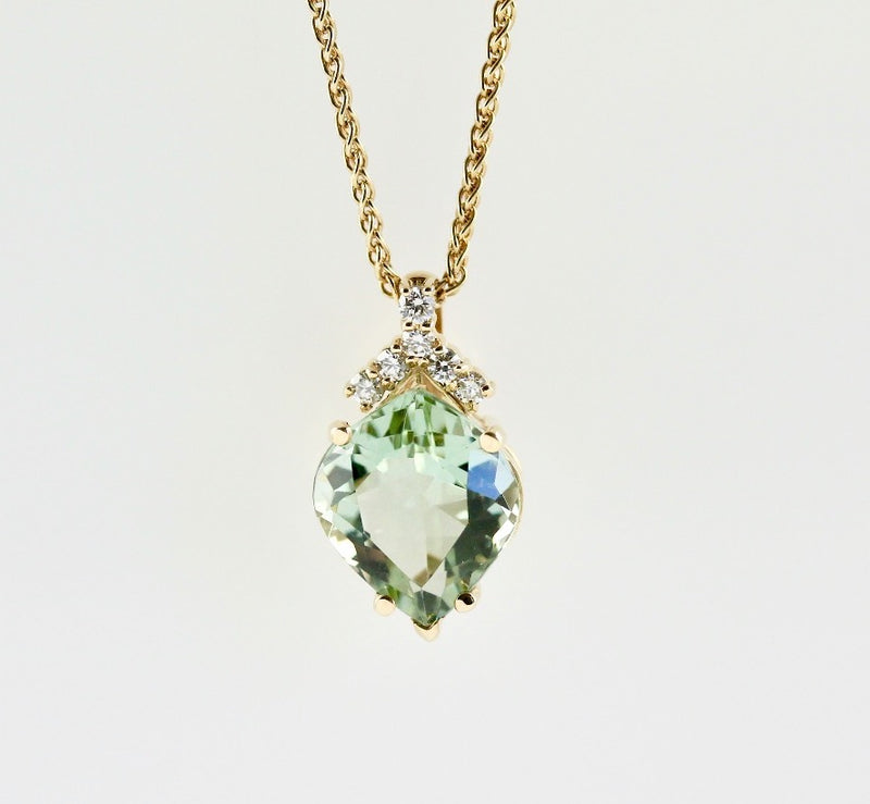 14k Yellow Gold Diamond and Green Amethyst Necklace - #54766