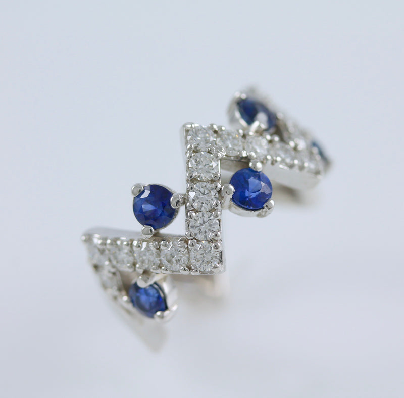 14k White Gold Diamond and Blue Sapphire Ring - #55606