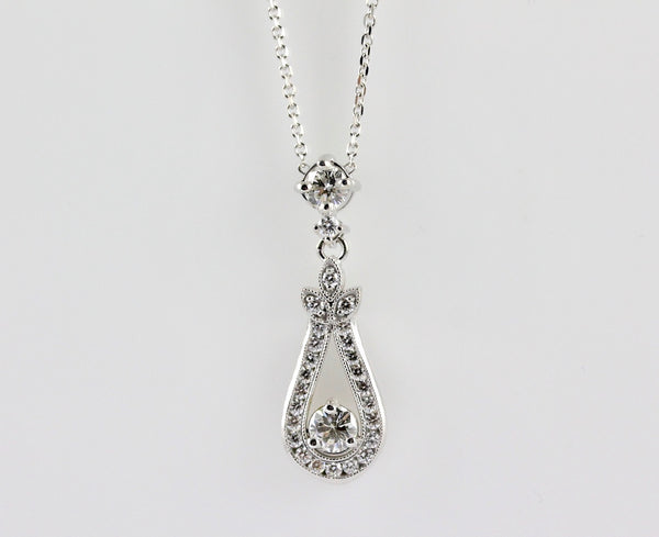 14k White Gold Diamond Necklace - #57341