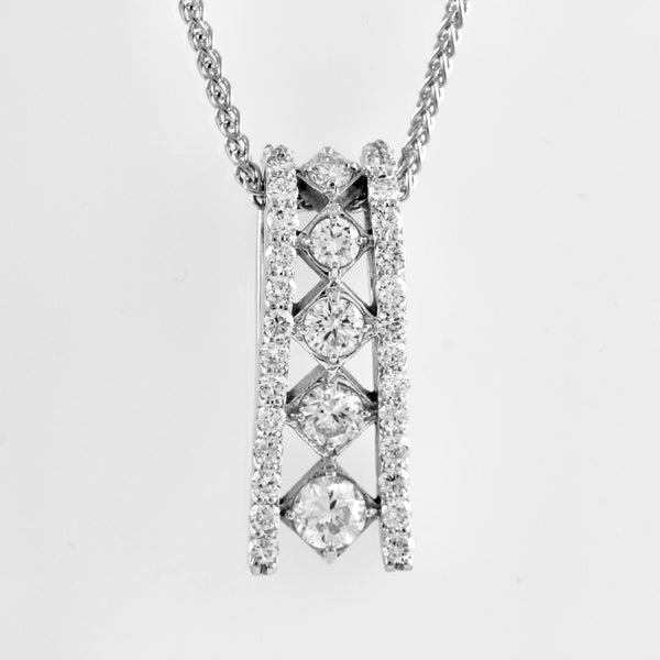 14k White Gold Diamond Necklace - #59030