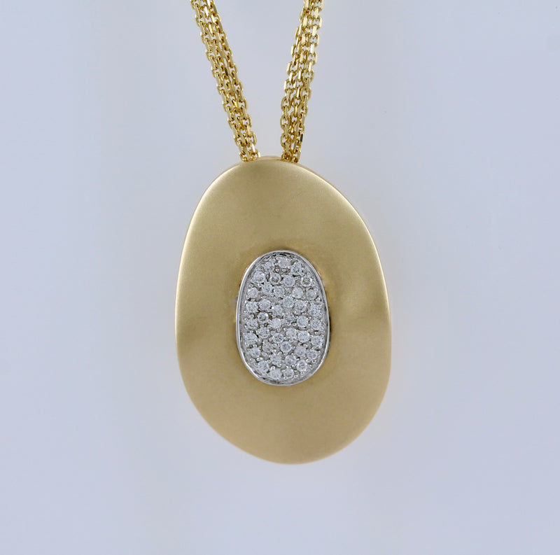 14k Two Tone Gold Diamond Necklace - #59366