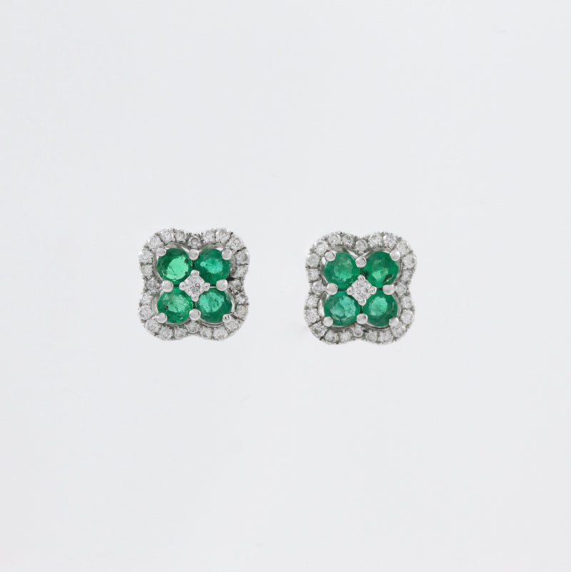 14k White Gold Diamond and Emerald Earrings - #59397