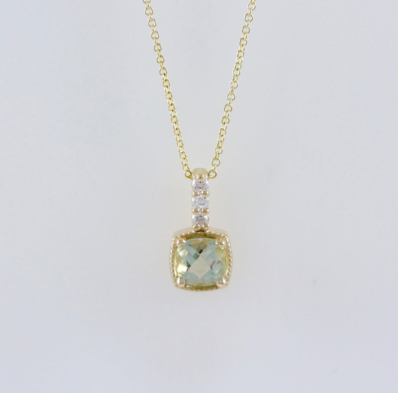 14k Yellow Gold Diamond and Green Amethyst Necklace - #60720