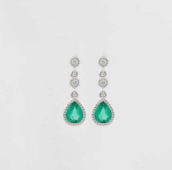14k White Gold Diamond and Emerald Earrings - #61524