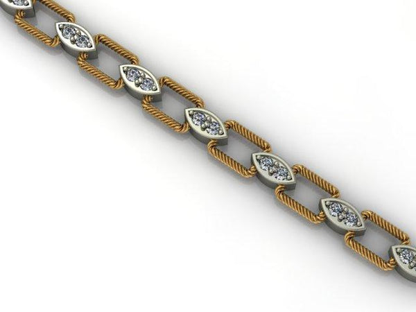 14K TT DIA BRACELET WITH YG RECT ROPE LINKS ALT MARQUIS SHAP...