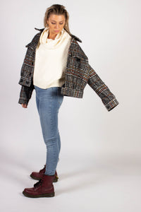 SLOUCHY PLAID BOMBER