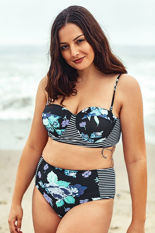 Bikini push up Plus Size stampa floreale blu - CUPSHE