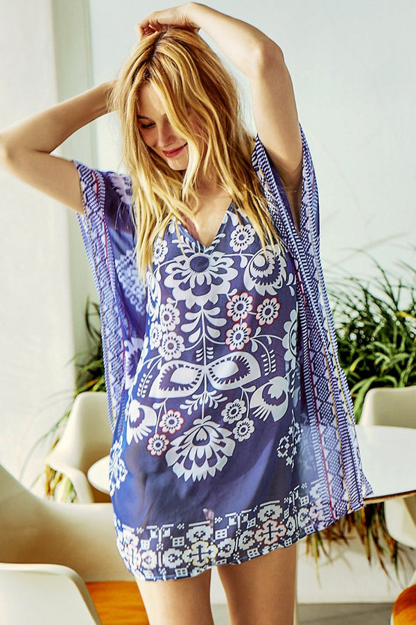 CHIFFON COVER-UP STAMPA FLOREALE BLU MARINO - CUPSHE