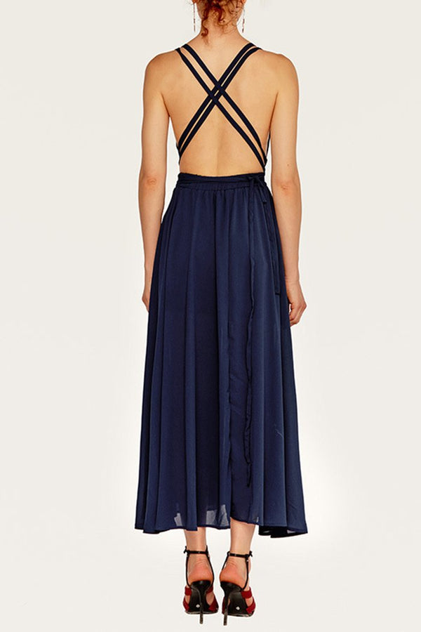 ABITO DA SERA BACKLESS IN NAVY BLU - CUPSHE