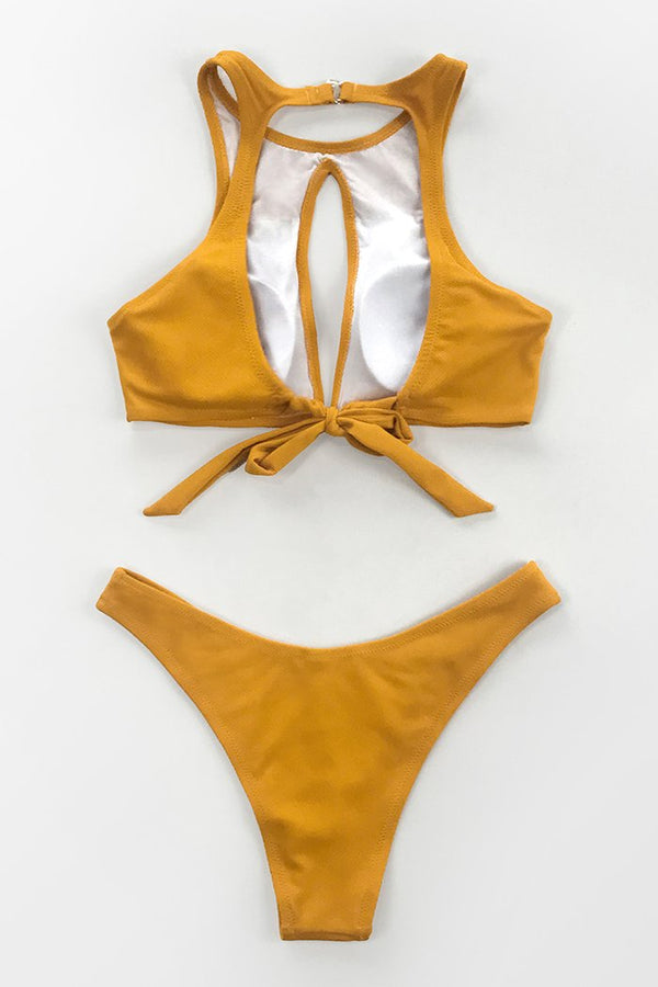 Bikini con cutout giallo bottom high cut