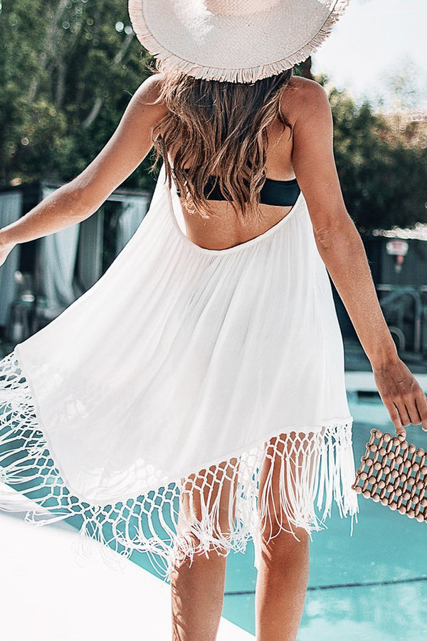 Backless bianco copricostume con nappe - CUPSHE