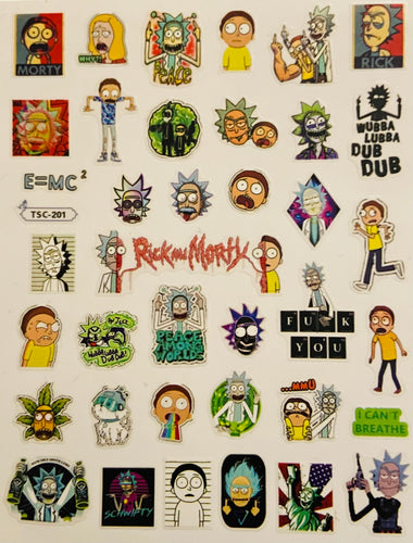 Rick and Morty Nail Tattoos