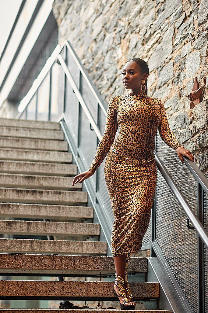 Leopard Print Bodycon Connection Midi Dress