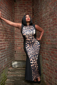 Cheetah Print Bodycon Maxi Dress