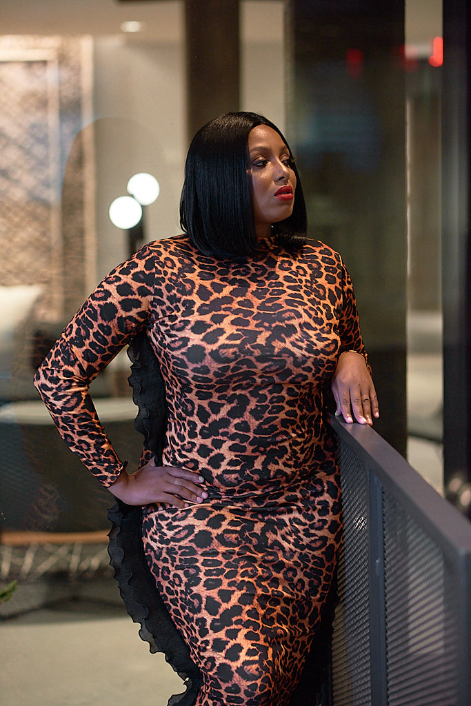 Leopard Print Wing Dress