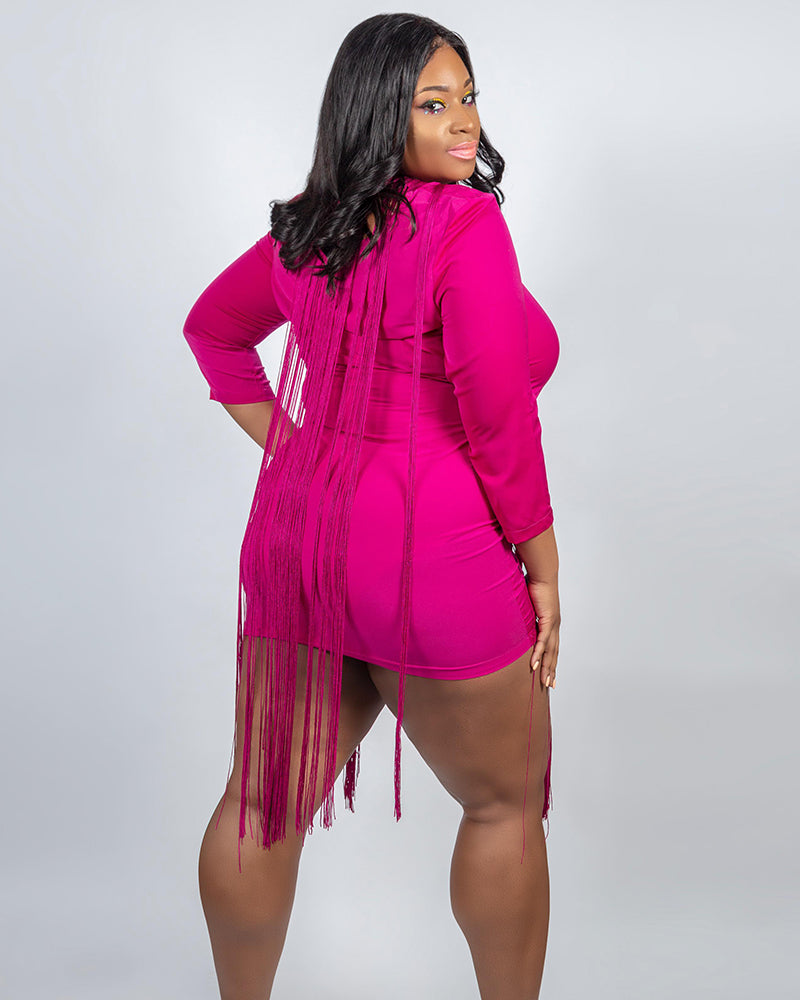BBL Curve Plum Mami Fringe Dress