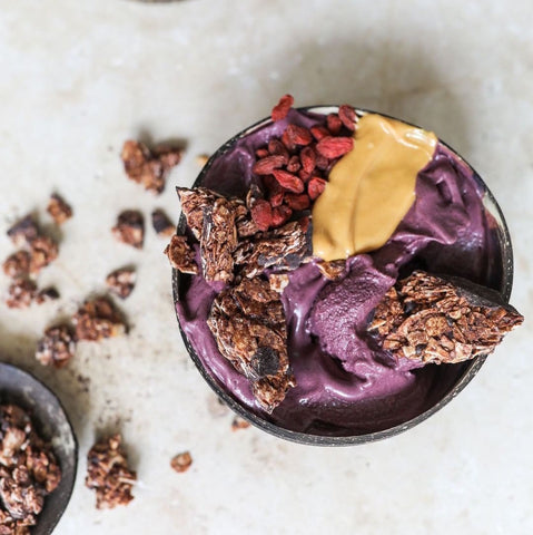 Acai Smoothie Bowl In A Coconut Bowl