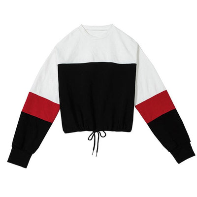 Women Patchwork Athleisure Sweatshirt Autumn Winter Clothes - Athleisure Republic