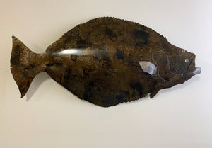 Halibut Sculpture, Metal Halibut Wall Sculpture