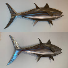 "Load image into Gallery viewer, 48"" Stainless Steel Bluefin Tuna Sculpture, Metal Tuna"