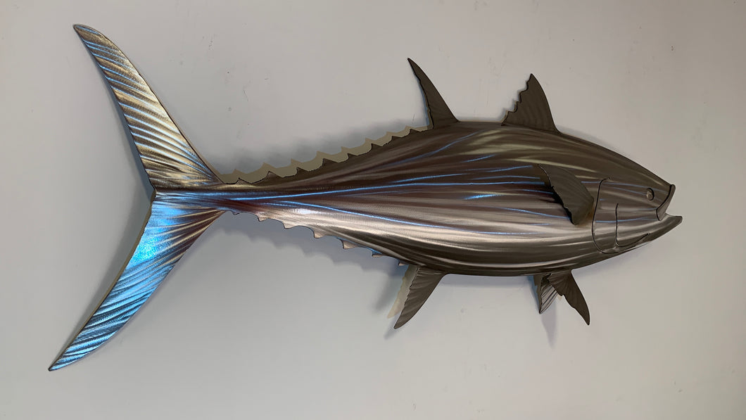 "48"" Stainless Steel Bluefin Tuna Sculpture, Metal Tuna"