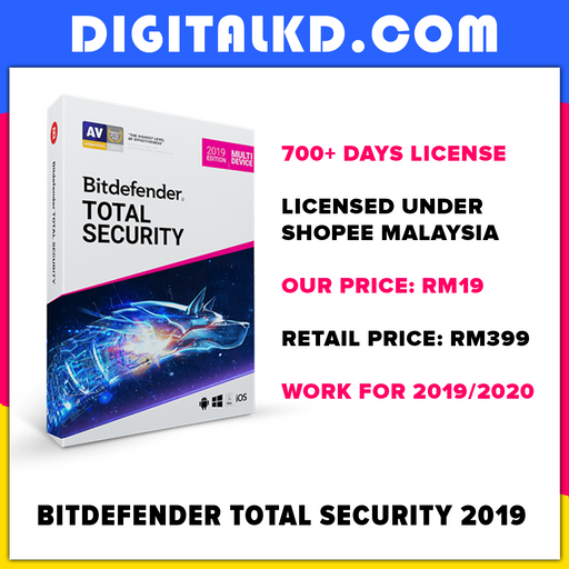 Bitdefender Total Security 2019 (700+ Days License) - DigitalKD.com