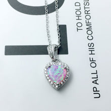 Load image into Gallery viewer, Women Heart Shape Opal Necklaces Pendants With Cubic Zirconia Genuine 925 Sterling Silver Gift for Grandma Mom (Lam Hub Fong)