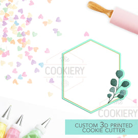 Geometric Leaf Plaque Cookie Cutter - Wedding Floral Cookie Cutter Plaque - 3D Printed Cookie Cutter - TCK36179