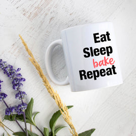 Eat Sleep Bake Repeat Mug - with option to Personalize