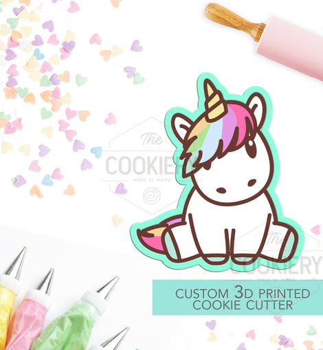 Sitting Unicorn Cookie Cutter - Cute Unicorn Cutter  - 3D Printed Cookie Cutter - TCK18108