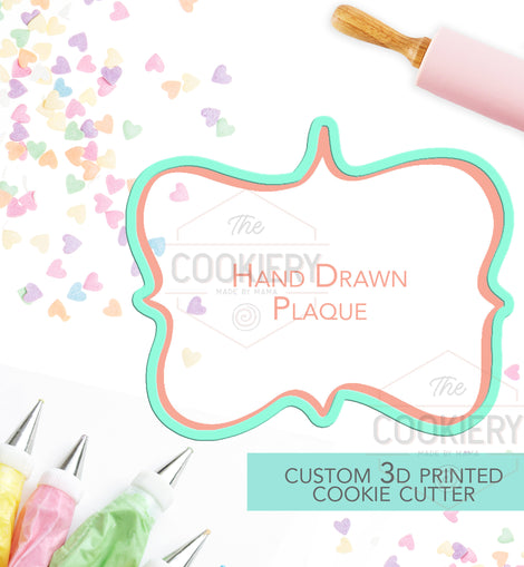 Hand Drawn Plaque Cookie Cutter - Vintage Frame Cutter - 3D Printed Cookie Cutter - TCK36100
