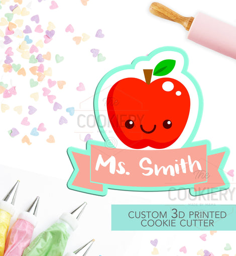Teacher Apple Cookie Cutter - Apple Name Plaque - Back to School - 3D Printed Cookie Cutter - TCK52100