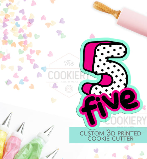 Number 5 with Lettering Cookie Cutter - Number Five Cookie Cutter -  Hand lettered Number - TCK46125