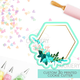 Floral Hexagon Cookie Plaque Cutter - Vintage Floral Frame Cutter - 3D Printed Cookie Cutter - TCK36124