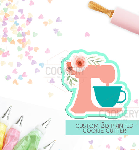 Stand Mixer with Flowers Cookie Cutter, Baking Mixer Cookie Cutter - 3D Printed Cookie Cutter - TCK58114