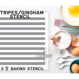 Stripes or Gingham Pattern Cookie Stencil - Baking Stencil - Cake Stencil - Airbrush Stencil