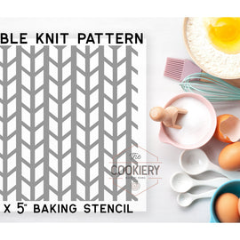 Cable Knit Pattern Cookie Stencil - Baking Stencil - Cake Stencil - Airbrush Stencil