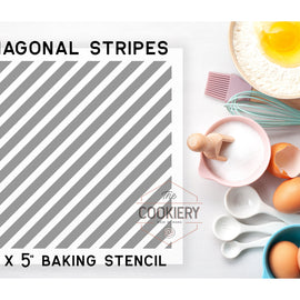 Diagnonal Stripes Cookie Stencil - Baking Stencil - Cake Stencil - Airbrush Stencil