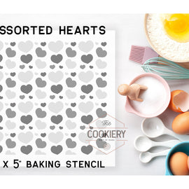 Assorted Hearts Pattern Cookie Stencil - Baking Stencil - Cake Stencil - Airbrush Stencil - Valentines Day Stencil