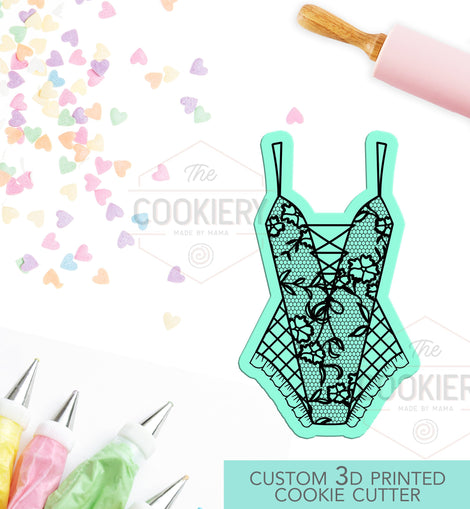 Bodysuit Corset Bustier Lingerie Cookie Cutter - Bachelorette Party Cookie Cutter  - 3D Printed Cookie Cutter - TCK26117