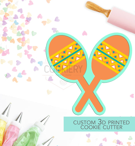 Maracas Cookie Cutter, Fiesta Cinco De Mayo Cookie Cutter - 3D Printed Cookie Cutter - TCK16104