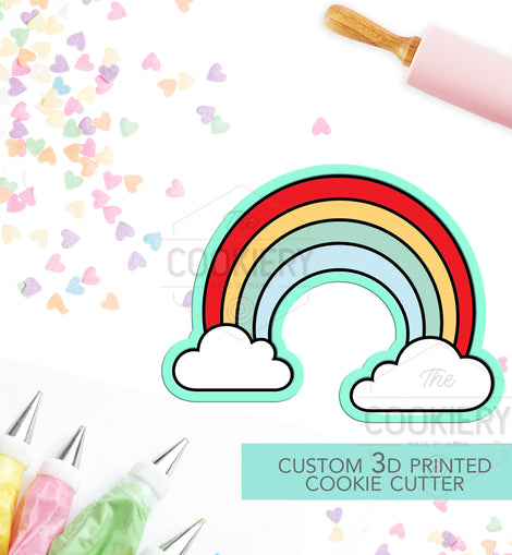 Rainbow with Clouds Cookie Cutter - Rainbow Cutter  - 3D Printed Cookie Cutter - TCK18105