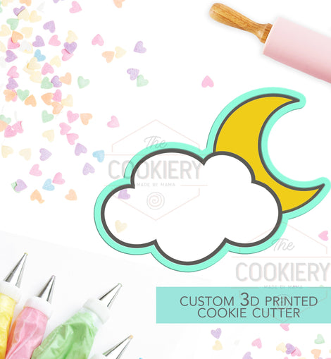 Moon and Cloud Cutter - Night Sky Cutter  - 3D Printed Cookie Cutter - TCK18103