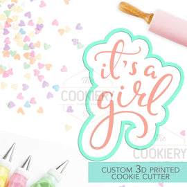 It's A Girl Cookie Cutter, Baby Shower Cookie Cutter  - Stencil and Cutter - 3D Printed Cookie Cutter - TCK23105