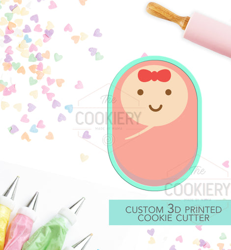 Swaddled Baby Cookie Cutter, Baby Girl Cookie,  Baby Shower Cookie - 3D Printed Cookie Cutter - TCK32100