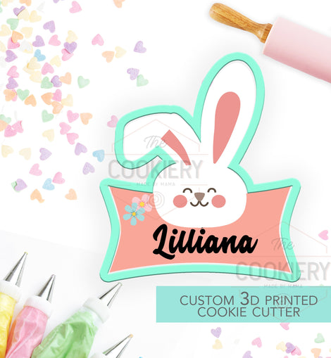 Easter Bunny Name Plaque 3D Printed Cookie Cutter - TCK12104